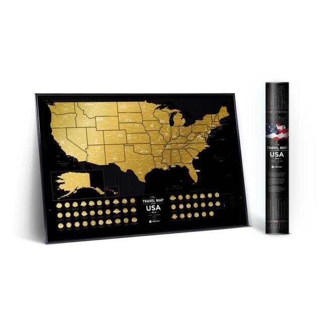 Kaparós USA térkép fekete-arany színben