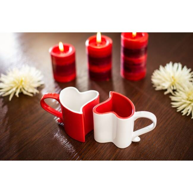 Dupla szív bögre Piros/Fehér