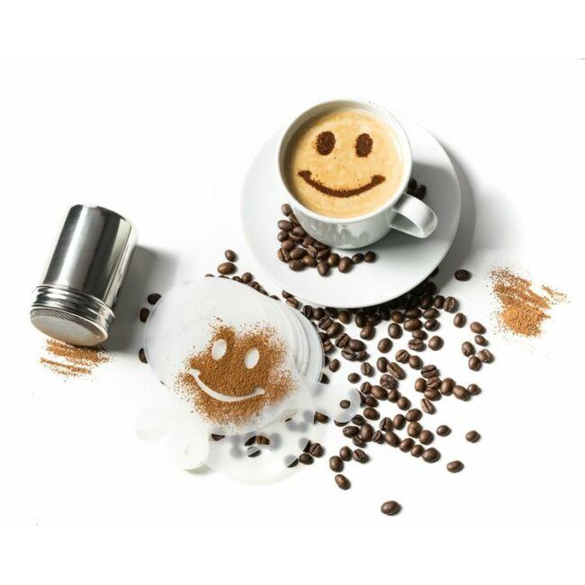 Kávé díszítő barista ajándék szett (16 sablon és 1 szóró)