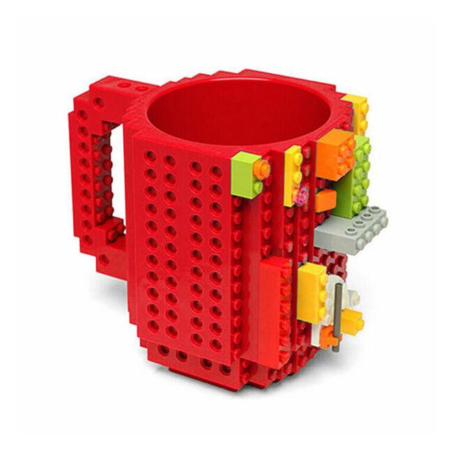 Építőkocka bögre Piros
