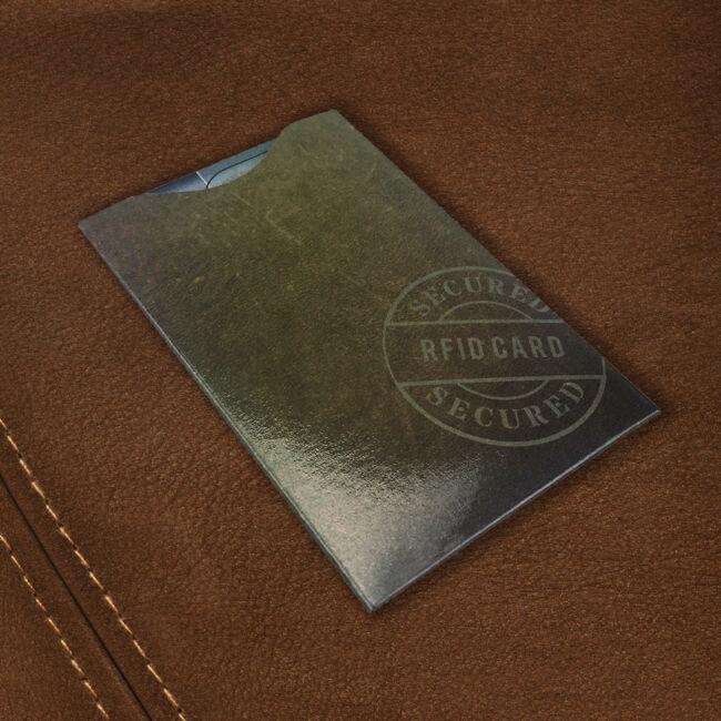 RFID bankkártya adatlopás elleni tok - barna