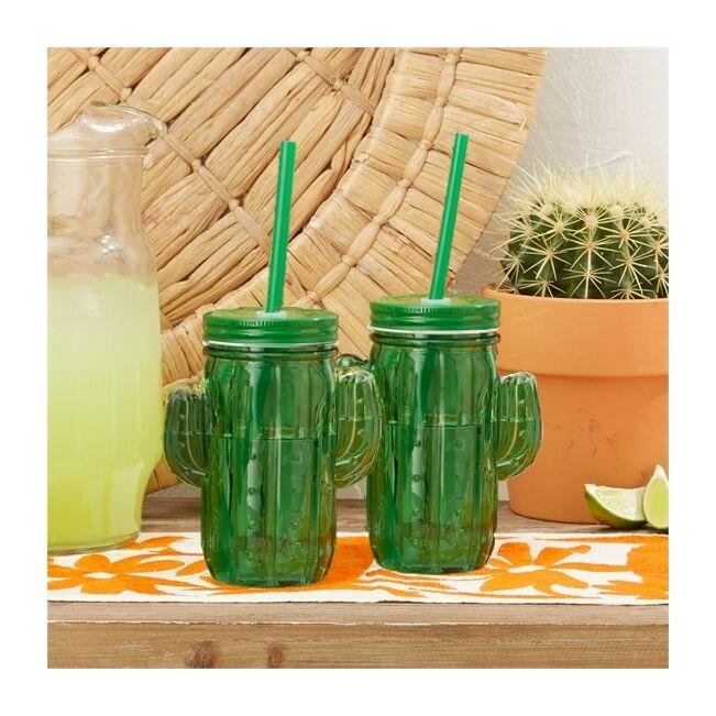 Kaktusz pohár szett szívószállal (6db)