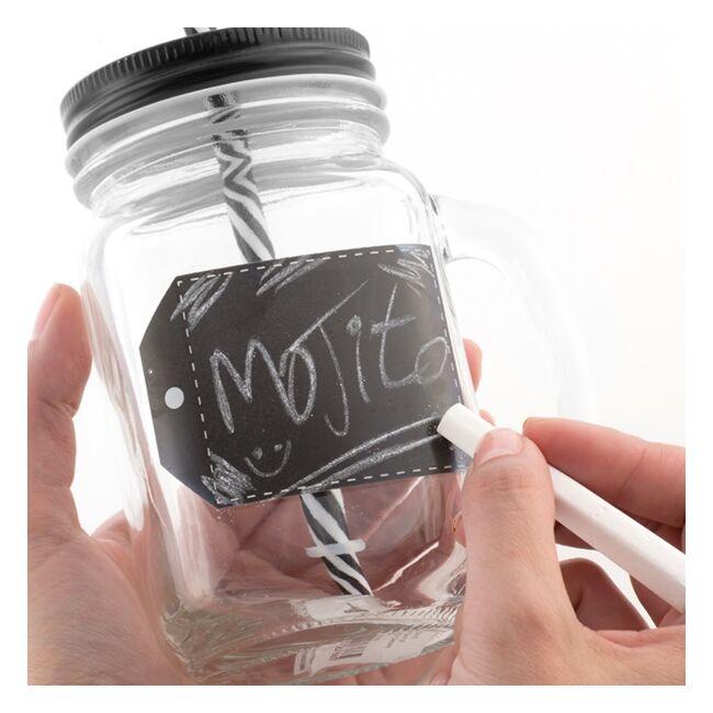 Krétával írható szívószálas befőttesüveg bögre