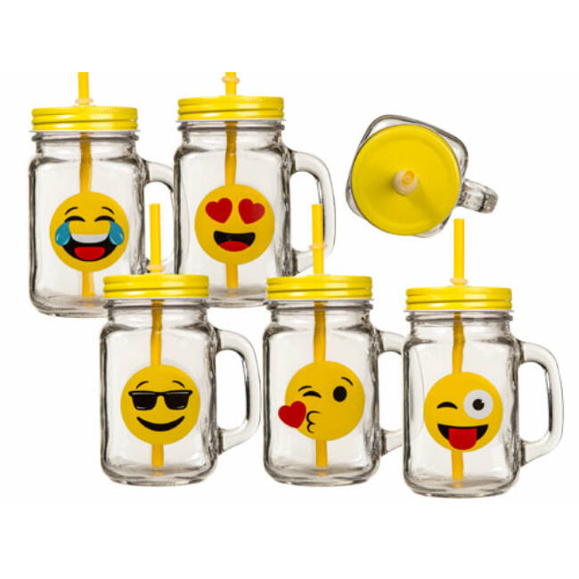 Emoji befőttesüveg pohár szett (6 db-os)