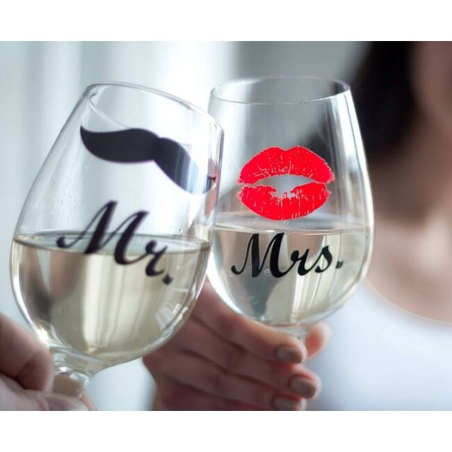 Mr és Mrs borospohár szett (2 db)