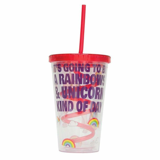 Csavart szívószálas unikornis pohár