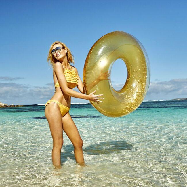 Felfújható glitter úszógumi Arany