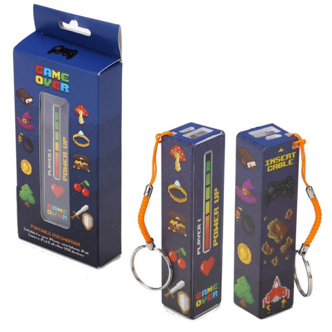 Game Over hordozható USB-s power bank kulcstartó