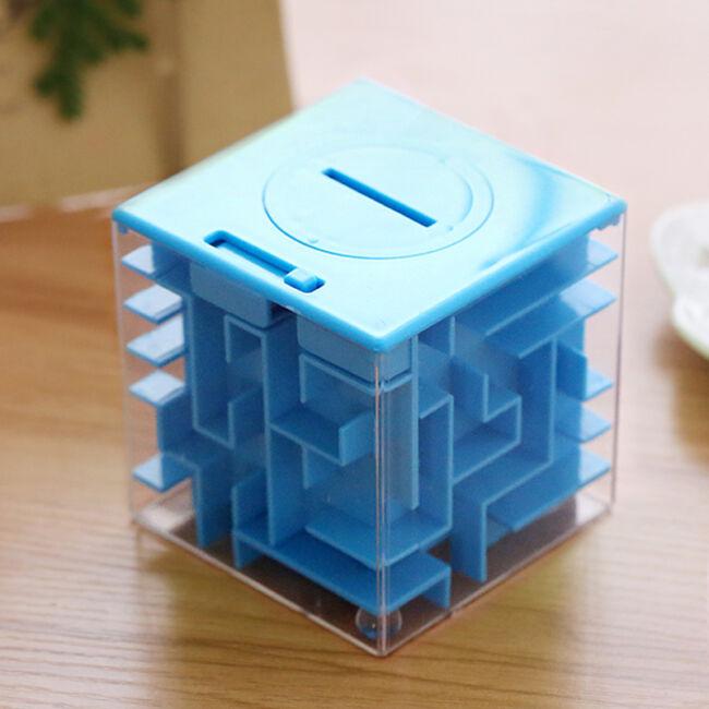 Pénz labirintus - logikai persely 3 színben Kék
