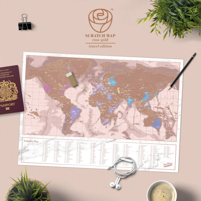 Kaparós térkép - Rose Gold változatban 42 x 30 cm