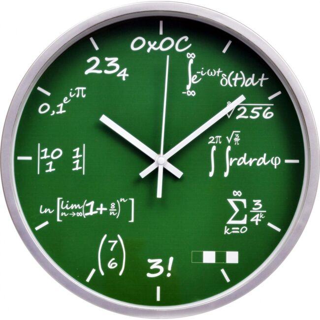 Matek feladványos falióra Zöld