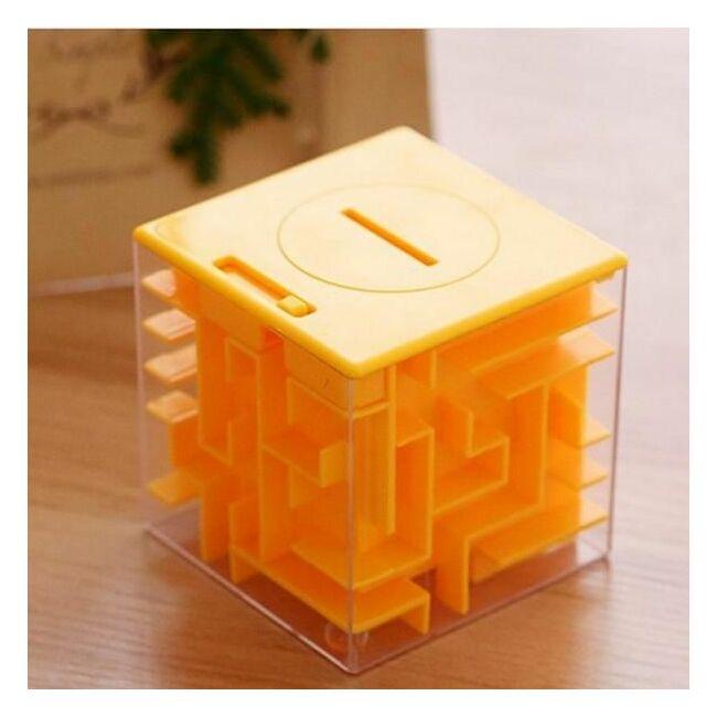Pénz labirintus - logikai persely 3 színben Narancs