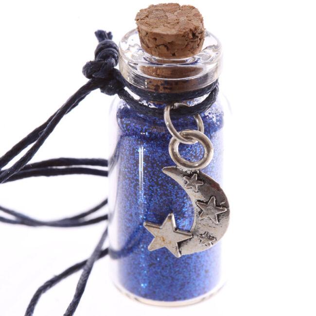 Misztikus unikornis kívánság por nyaklánc Kék, Hold medállal