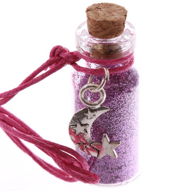 Misztikus unikornis kívánság por nyaklánc Rózsaszín, hold medállal