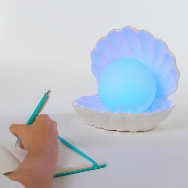 Színváltós gyöngy hangulatvilágítás porcelán kagylóban