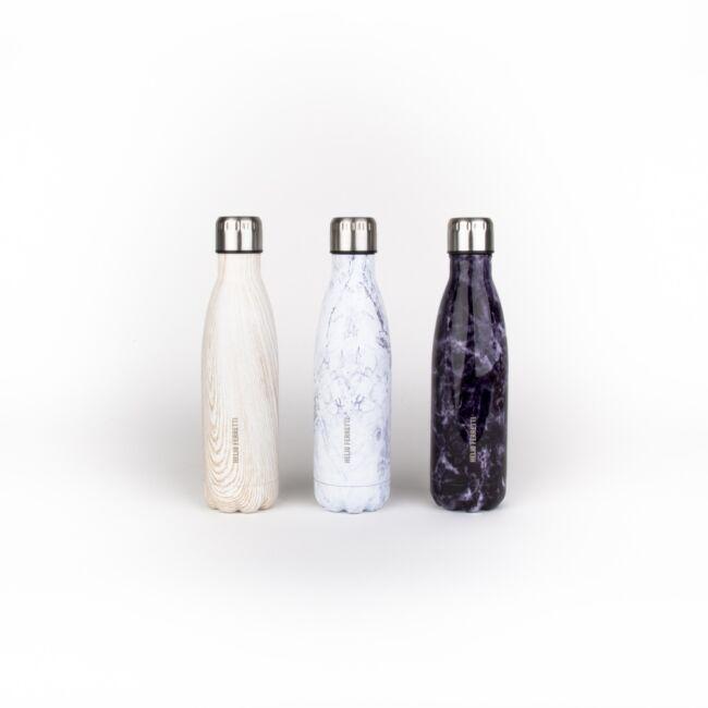 Márvány mintájú fém utazó palack Fehér