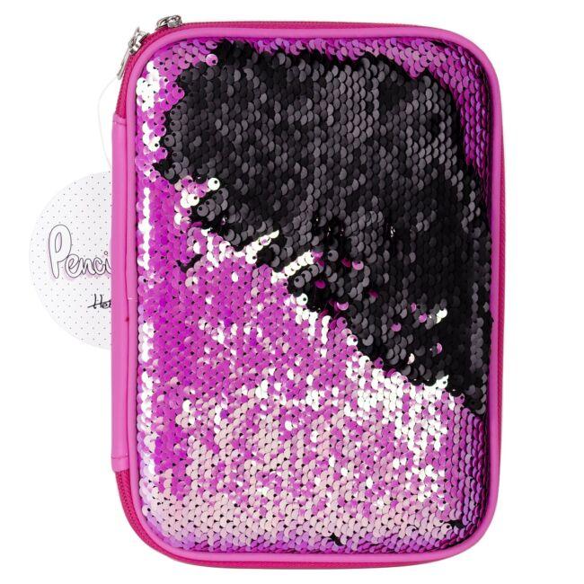 Sellő flitteres tolltartó Rózsaszín-fekete