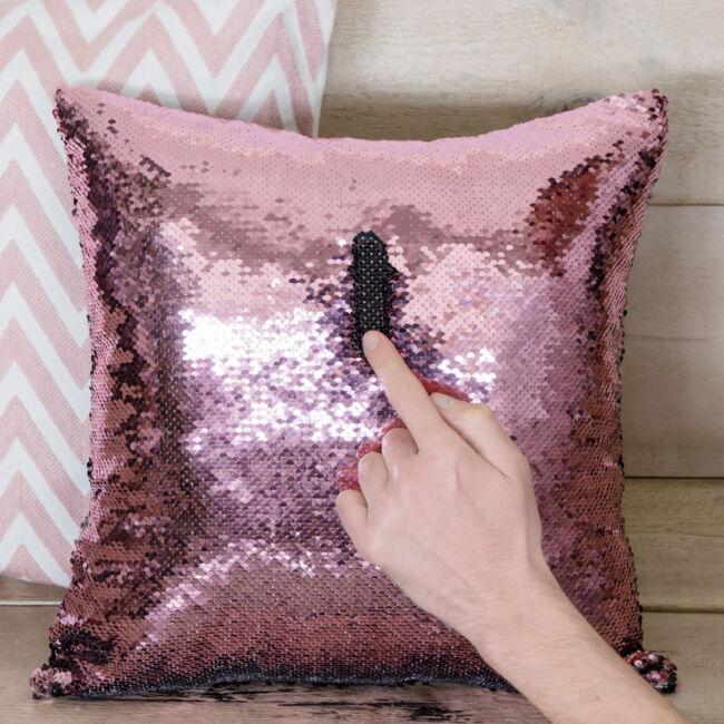 Sellő flitteres díszpárna fekete-pink