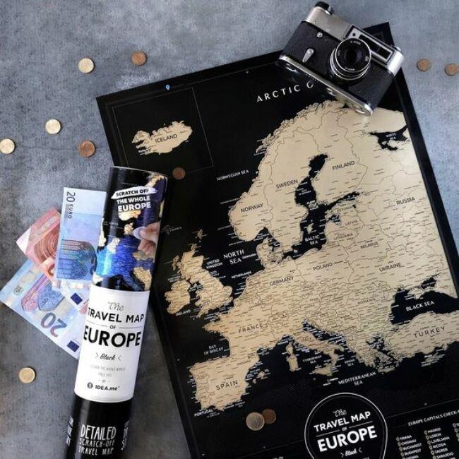 Európa térkép - Fekete/Arany változatban