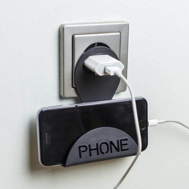 Telefontartó töltéshez Fekete