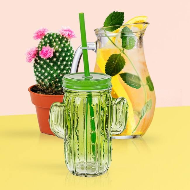Kaktusz befőttes üveg pohár szett szívószállal (6db) Vegyes színek