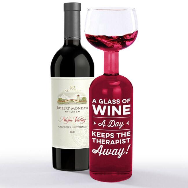 Egy pohár bor naponta távol tartja a terapeutát - óriás borosüveg - pohár 0,75 l