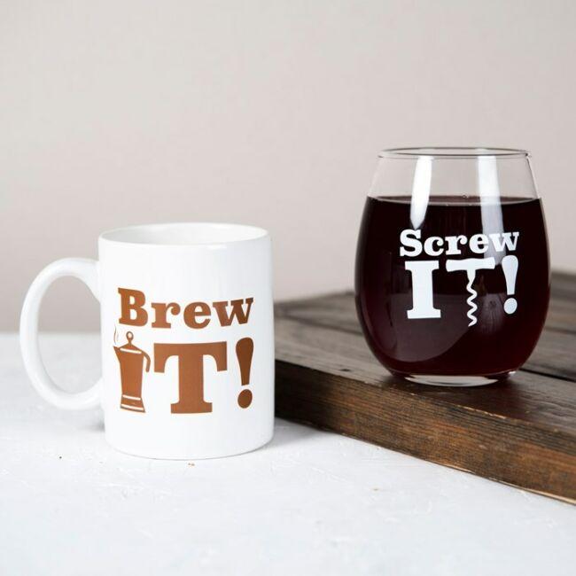 Brew it - Screw it bögre és pohár szett