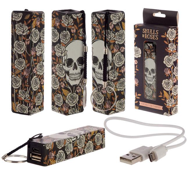 Koponyák & Rózsák - Hordozható USB-s power bank kulcstartó