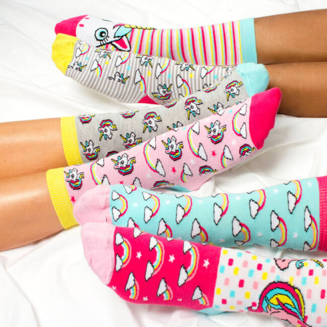 Unikornis zokni szett - 6 db különböző mintájú
