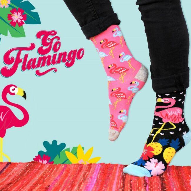 Flamingó zokni szett - 6 db különböző mintájú zokni