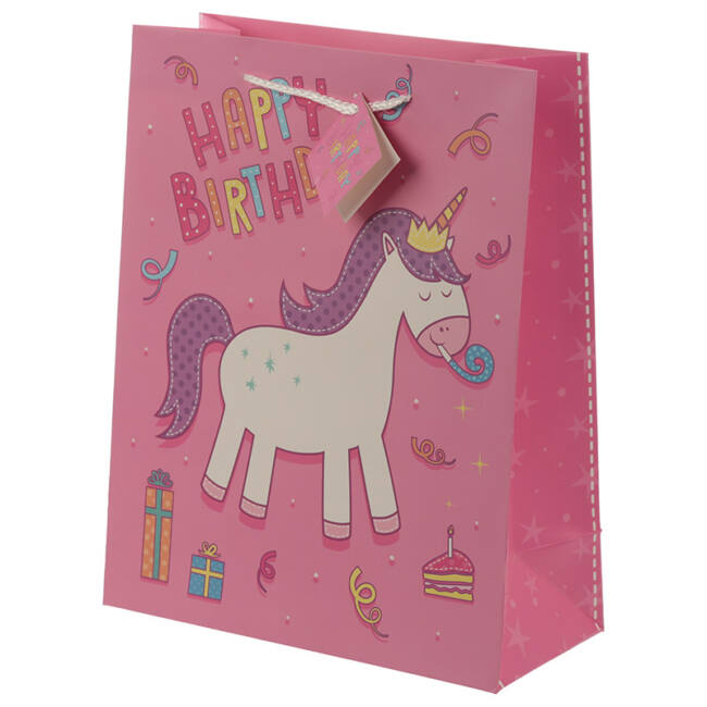 Unikornis születésnapi ajándéktasak 3 méretben Nagy rózsaszín