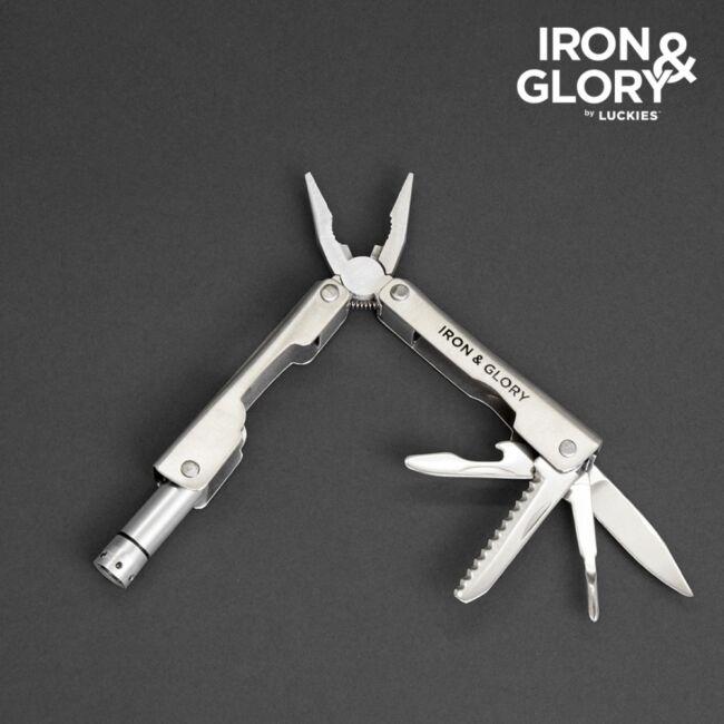 Iron & Glory 6 az 1-ben multifunkciós eszköz zseblámpával Ezüst