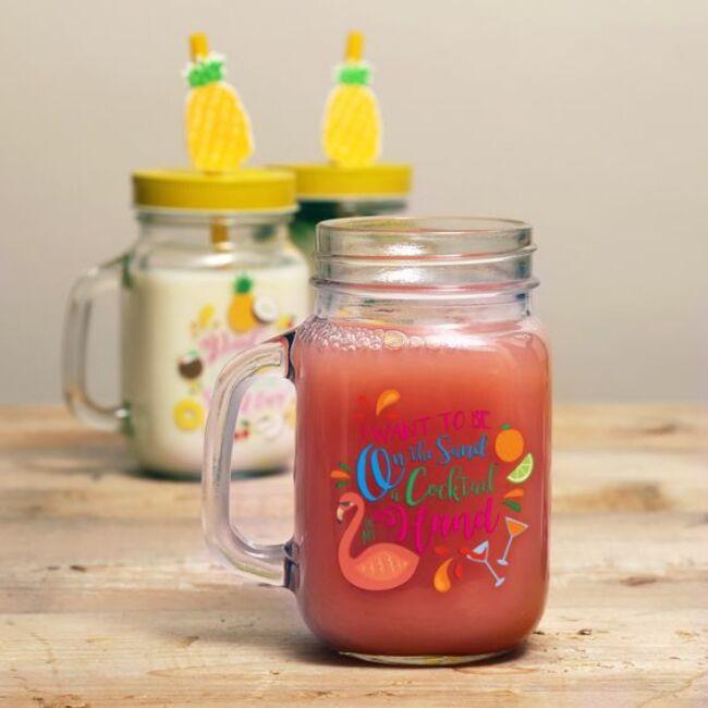 Ananász befőttes üveg pohár szívószállal