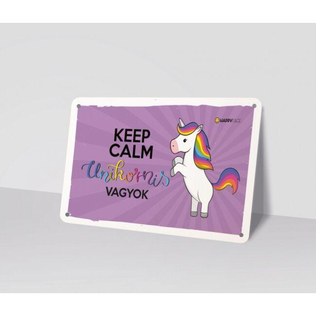 Emoji fémtábla - Keep calm unikornis