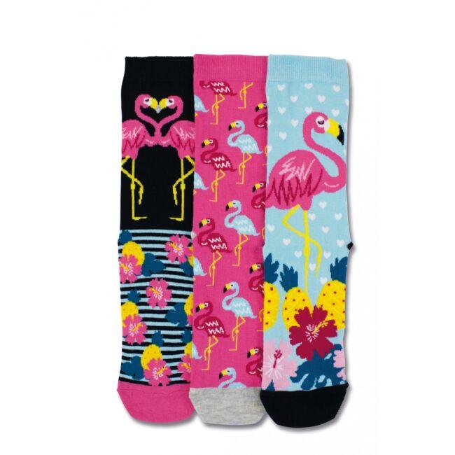 Flamingó - 3 darabos zokni szett