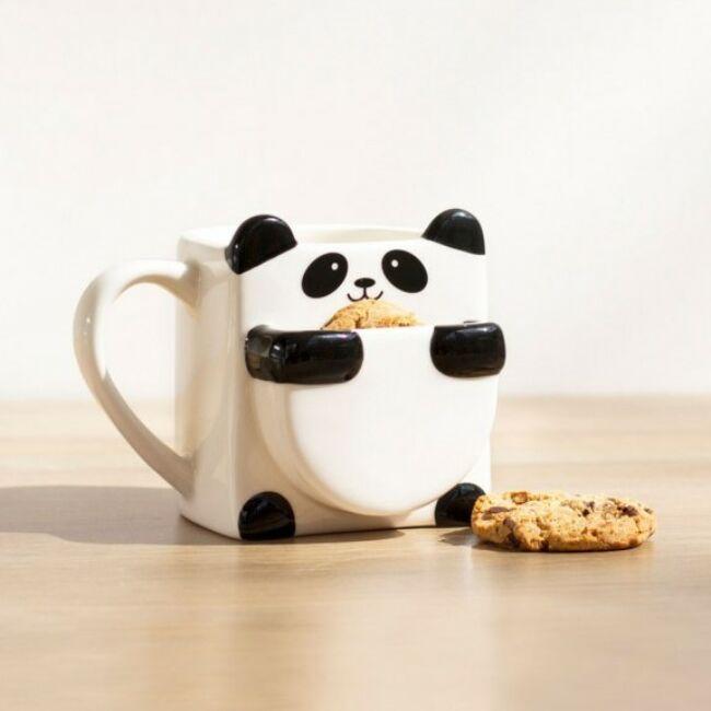Panda bögre keksz tartóval