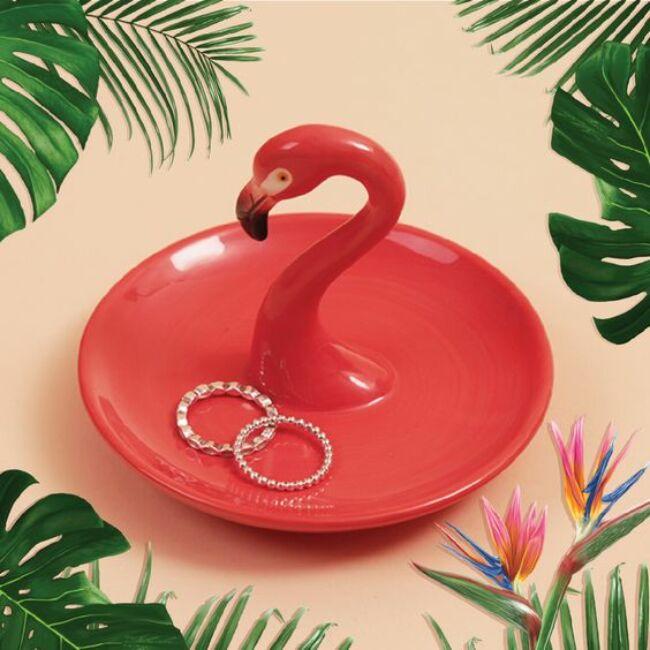 Flamingó fej gyűrű- és ékszertató tál