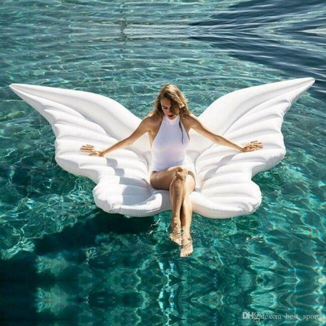 Angyal szárny felfújható strand matrac Fehér