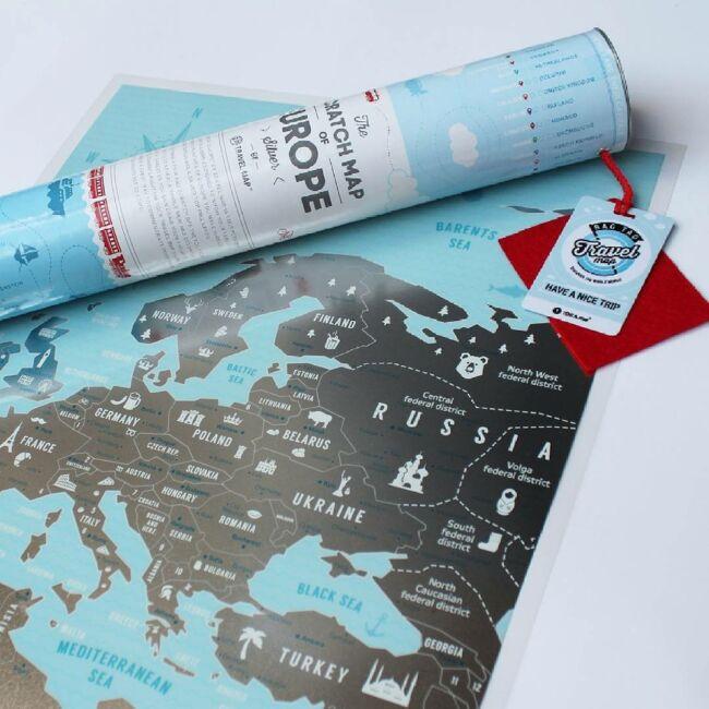 Európa térkép - Kék/Ezüst változatban