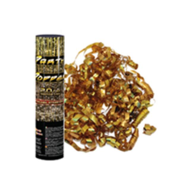20 cm-es, Arany Metál Szalagokat Kilövő Konfetti Ágyú
