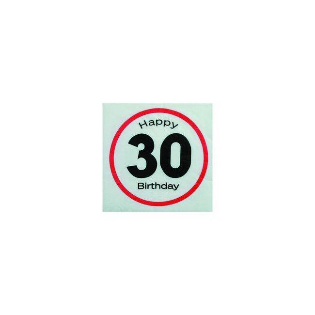 Happy Birthday 30-as Sebességkorlátozó Szülinapi Parti Szalvéta - 33 x 33 cm, 20 db-os