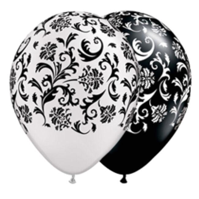 11 inch-es Damask Print-A-Round White és Black Asst. Lufi
