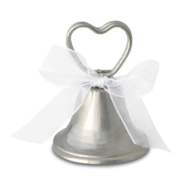 Esküvői Ezüst Harang Ültetőkártya-tartó - 12 db-os Party kellék