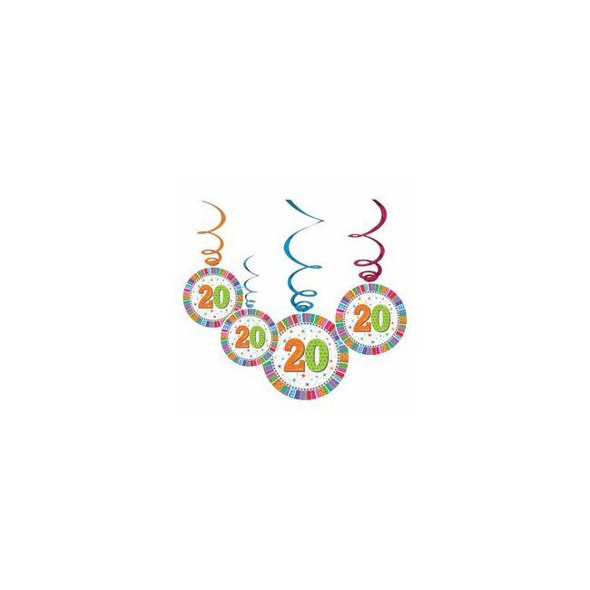 20-as Szülinapi Radiant Parti Függő Dekoráció - 6 db-os