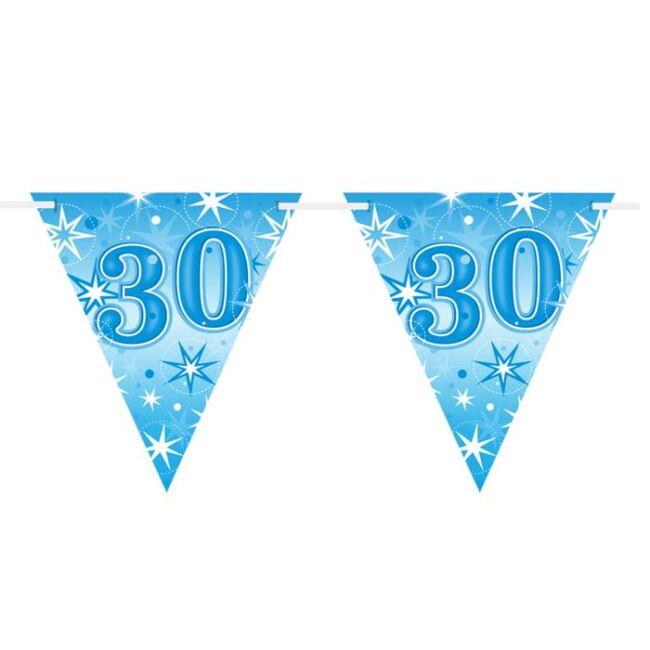30-as Kék Sparkle Parti Zászlófüzér - 360 cm