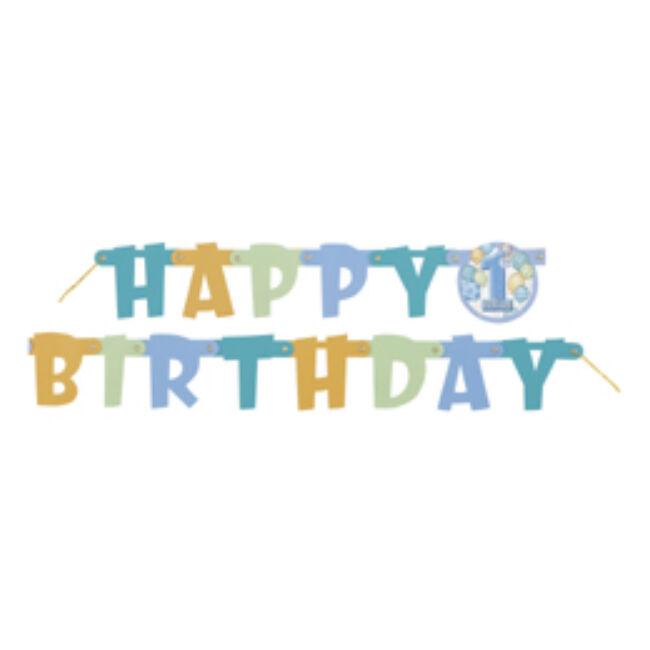First Birthday Balloons Blue - Kék Léggömbös 1. Számos Születésnapi Happy Birthday Betűfüzér