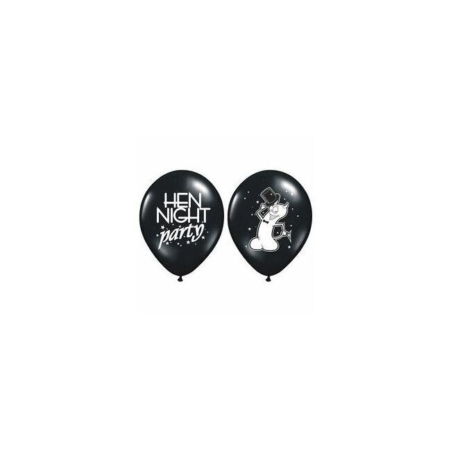 11 inch-es Hen Night Party Feliratú Fekete Lufi Lánybúcsúra