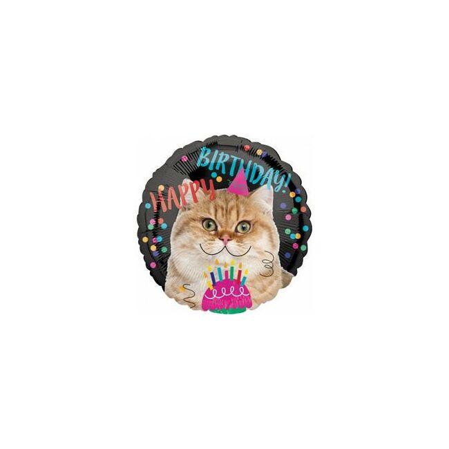 17 inch-es Happy Birthday Szülinapi Cica Fólia Lufi