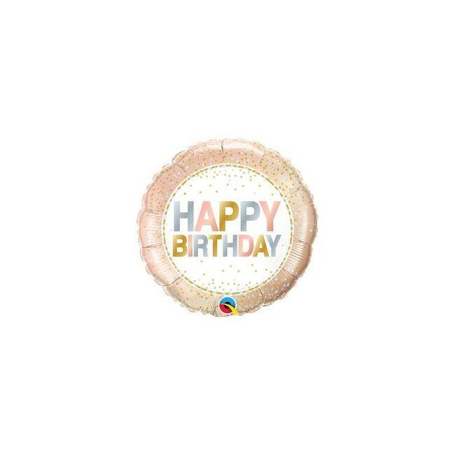 18 inch-es Arany Pöttyös Elegáns Happy Birthday Szülinapi Fólia Lufi