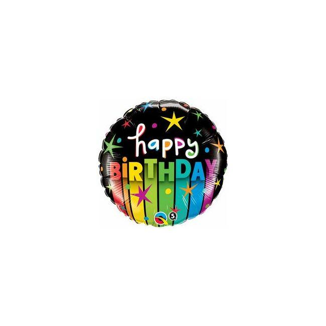 18 inch-es Birthday Colorful Stripes Szülinapi Fólia Lufi